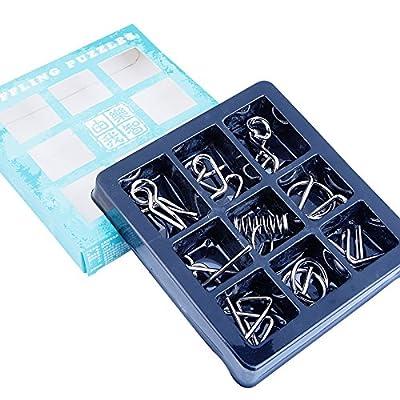 9PCS / Set Metal Wire Puzzle IQ Mind Brain Teaser Puzzles Jeu pour adultes Enfants Enfants | Dingze (B)