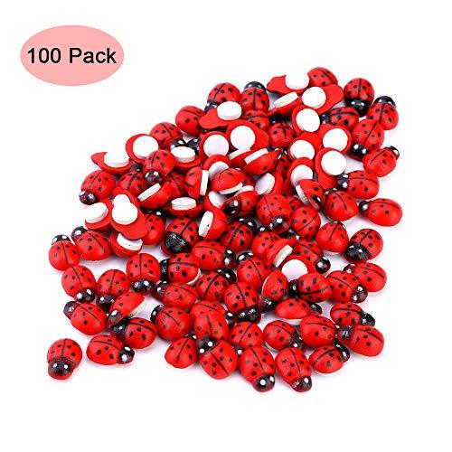 Dazonge Mini Self-Adhesive Ladybugs,100pcs 3D Lady Beetle Garden Decor for Children Kids DIY Sticker Decoration -