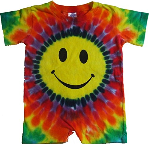 Tie Dyed Shop Smiley Face Tie Dye Baby Infant Toddler Rompers