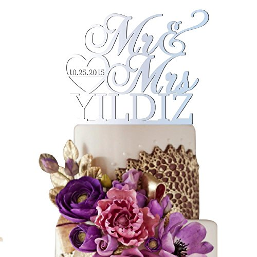 Sugar Yeti Made In USA Personalized Wedding Cake Topper Mr Heart Mrs With Date #32 Silver Mirror