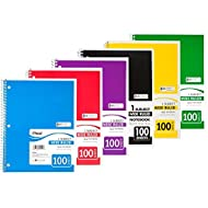 """Mead Spiral Notebook, 1 Subject, Wide Ruled, 100 Sheets, 8"""" x 10 1/2"""", Assorted Colors, Pack Of 6"""