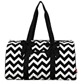 Black Chevron Print NGIL Large Quilted Duffle Bag