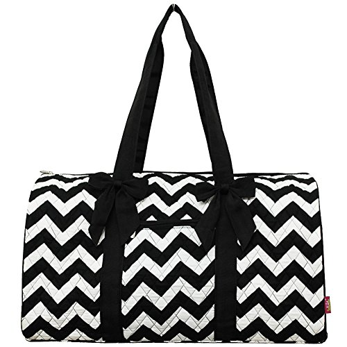 NGIL Quilted Chevron Themed Gym Travel Dance Cheer Zumba Duffle Bag