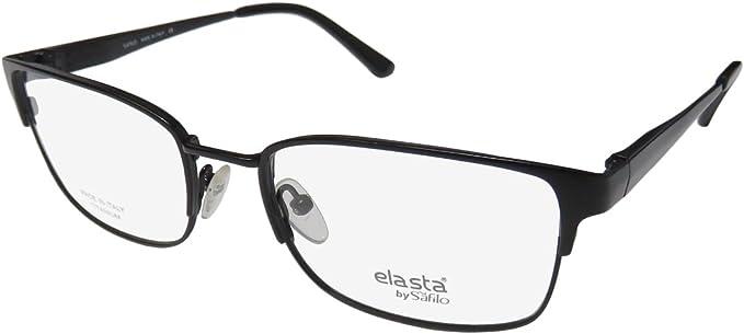 54-17-145, Black // Wood Safilo Elasta 1145 Mens Designer Full-rim Wood Flexible Hinges Eyeglasses//Eyeglass Frame