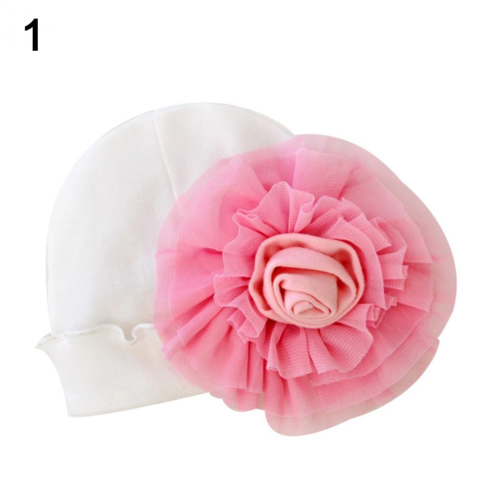 Newborn Baby Girls Flower Hat Soft Cotton Sweet Beanie Cap-SoundsBeauty