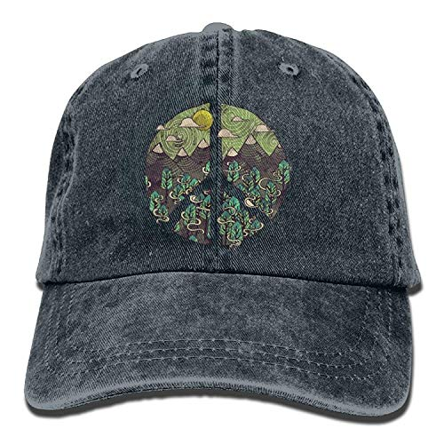 Nature Peace Sign Denim Jeanet Baseball Hat Adjustable Street Rapper Hat