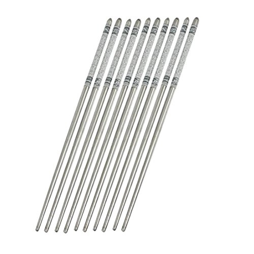5 Pairs Elegant Flowers Pattern Print Portable Stainless Steel metal Exquisite Dinner Chopsticks eco-friendly from Daniel
