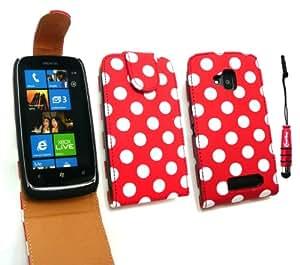 Emartbuy ® Stylus Pack Para Nokia Lumia 610 Premium Pu Funda De Cuero Flip / Cubierta / Funda Lunares Rojo / Blanco + Rojo Metálico Mini Stylus + Protector De Pantalla