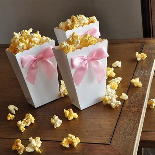 Amazon.com: Mini Popcorn Boxes with Baby Pink Bows. Ready to Pop. Popped the Question. Party ...