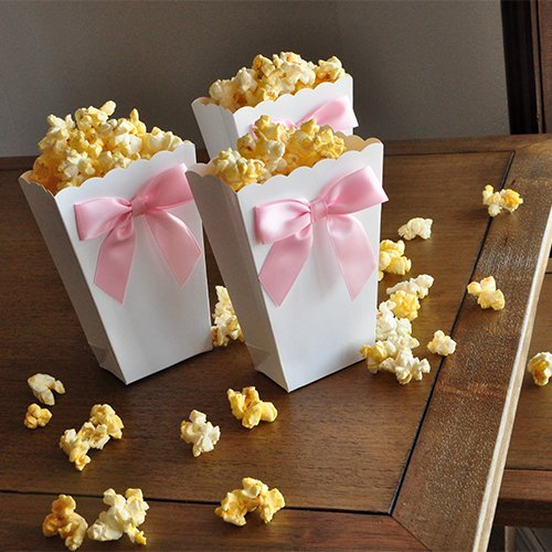 Mini Popcorn Boxes with Baby Pink Bows. Ready to Pop. Popped the Question. Party Favor Boxes. 10CT. ()