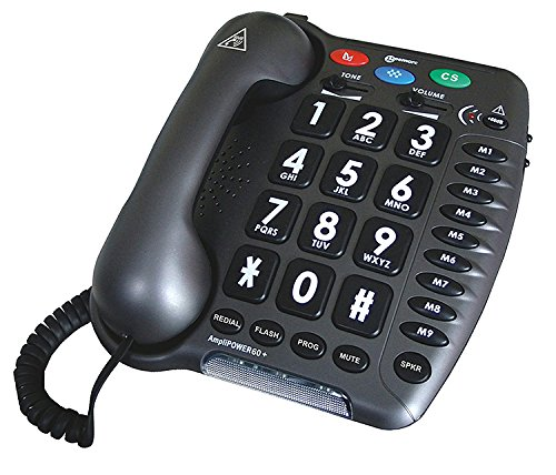 Geemarc Ultra Amplified Corded Telephone, Loudest Telephone Available, Black