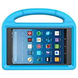 MENZO Kids Case for Kindle Fire HD 8 2017, Light Weight Shockproof Handle Stand Kids Friendly Case for Fire HD 8 inch (2017 released), Blue