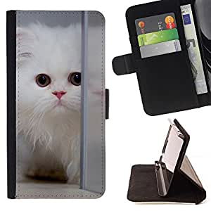 For Sony Xperia Z2 D6502 Case , Persa blanco Gato de pelo largo gatito mullido- la tarjeta de Crédito Slots PU Funda de cuero Monedero caso cubierta de piel