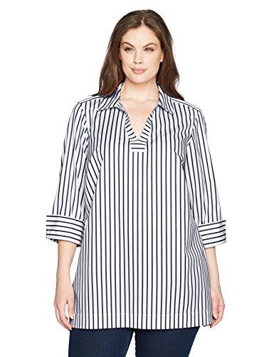 Foxcroft Women's Plus Size Nora Slim Stripe Non Iron Tunic, Navy, 14W