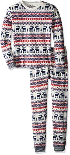 PJ Salvage Kids Little Kids Thermal ski Jammies Moose fair isle Set, red, 5