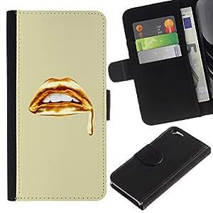 KLONGSHOP // Tirón de la caja Cartera de cuero con ranuras para tarjetas - Labios de oro Sangre dientes blancos Arte - Apple Iphone 6 //