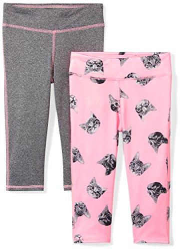 Amazon Brand - Spotted Zebra Girls' Big Kid 2-Pack Active Capri Legging, Kitties, X-Large (12) ()