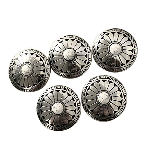 5Pcs Western Style Coin Buttons with Screw Back Leathercraft Accessories 3cm