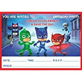 PJ MASKS CHILDRENS BIRTHDAY PARTY INVITES INVITATIONS X 20 PACK WITH