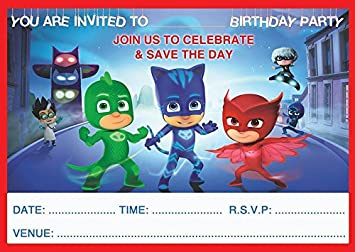 Image Unavailable Not Available For Colour PJ MASKS CHILDRENS BIRTHDAY PARTY INVITES