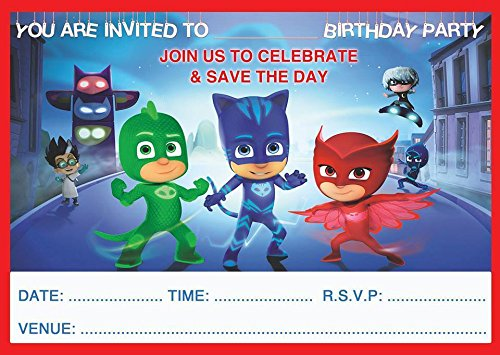 PJ MASKS CHILDRENS BIRTHDAY PARTY INVITES INVITATIONS X 20 PACK WITH ENVELOPES