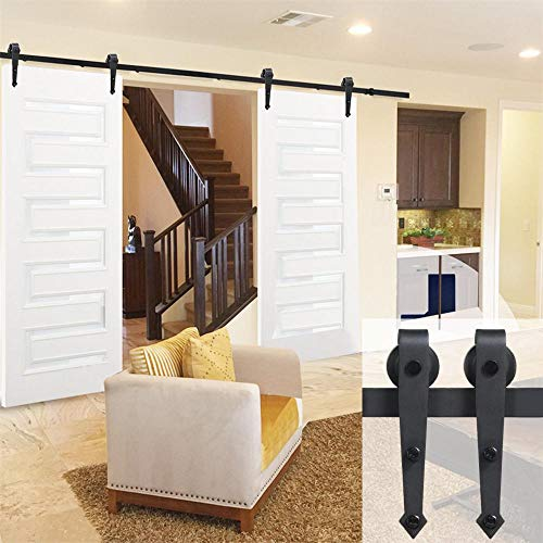 (Yaheetech 12Ft Sliding Barn Door Closet Hardware Set Black Wood Antique Style Double Track Kit System)