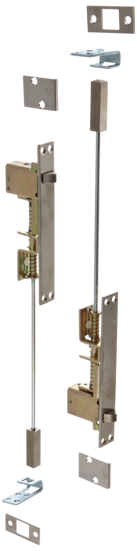 Rockwood 2842.32D Stainless Steel Automatic Flush Bolt Set For Metal Doors, 1'' Width x 6-3/4'' Length, Satin Finish