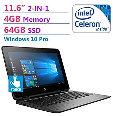 "2018 HP ProBook 2-in-1 Convertible 11.6"" HD SVA WLED-backlit Touchscreen Laptop PC, Intel N3350 Processor, 64GB SSD, 4GB RAM, 802.11ac, Bluetooth, HDMI, Up to 11 hours Battery Life, Windows 10 Pro"