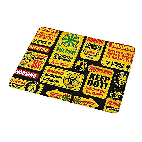 Customized Gaming Mouse Zombie,Apocalypse Signs Attention Danger Safe Point Evil Phrase Modern Image Print,Yellow Grey Red,Non-Slip Personalized Rectangle Mouse pad 9.8