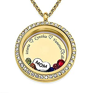 Grandma Mom Personalized Floating Birthstone Locket Necklace-925 Sterling Silver Gold Rose Gold Floating Disc Necklace for Wife Women
