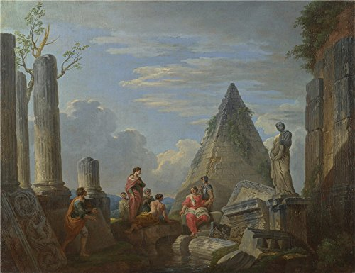 Oil Painting 'Giovanni Paolo Panini Roman Ruins With Figures' 18 x 23 inch / 46 x 59 cm , on High Definition HD canvas prints is for Gifts And Hallway, Home Theater And Nursery Decoration Fingerprint Christmas Lights Poem