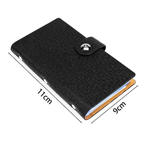 ELOKI Leather Credit Card Holder Book Business Credit Card Organizer Name Card Holder Book Style ID Card Organizer Credit Card Holder Case for 300 Business Cards, Credit Cards and Driver License-Black Photo #3