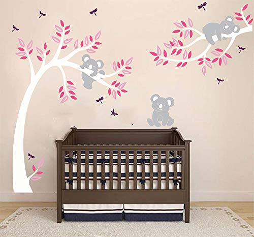 (ALiQing Nursery Wall Decals~Family Tree Wall Decal Koala Bear Wall Stickers Kids Baby Bedroom Wall Decor (225cm Width x 150cm Height) (White,Pink) )