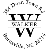 Custom Address Stamp, Walker Self Inking Address Stamp, Monogram Initial Address Stamp