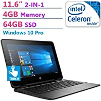 2018 HP ProBook 2-in-1 Convertible 11.6 HD SVA WLED-backlit Touchscreen Laptop PC, Intel N3350 Processor, 64GB SSD, 4GB RAM, 802.11ac, Bluetooth, HDMI, Up to 11 hours Battery Life, Windows 10 Pro