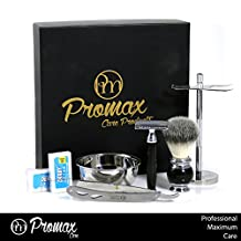 ProMax Double Edge Safety Razor With Shaving Brush,Shaving Brush and Safety Stand, Straight Edge barber Razor and Shaving Soap Bowel ,Wet Shave Kit With 20 Derby Blades-Chrome Finish 4 inch Long Handle Rust free and Unbreakable-Complete Mens Shaving Kit-300-10001