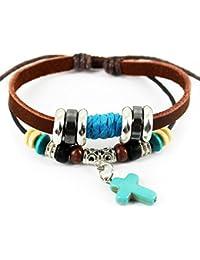 PopJ Vintage Blue Cross Pendant Braided Rope Handmade Brown Leather Bracelet, Adjustable