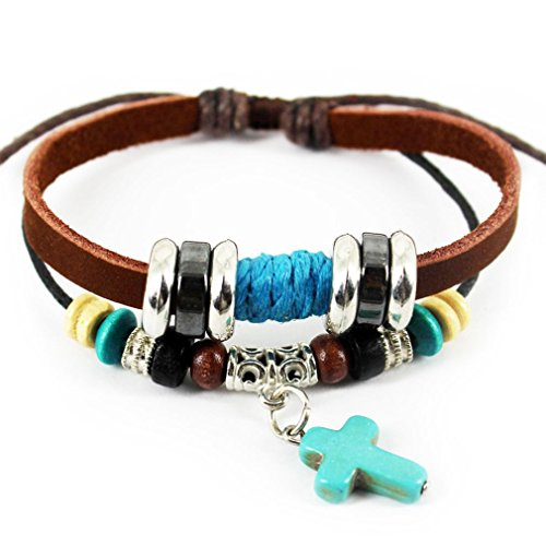 PopJ Vintage Blue Cross Bracelet, Braided Rope Handmade Wristband Leather Brown Adjustable