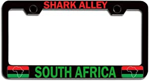 Makoroni - Shark Alley South Africa South Africa Black Steel Metal Heavy Duty Decorative License Plate Frame, License Tag Holder