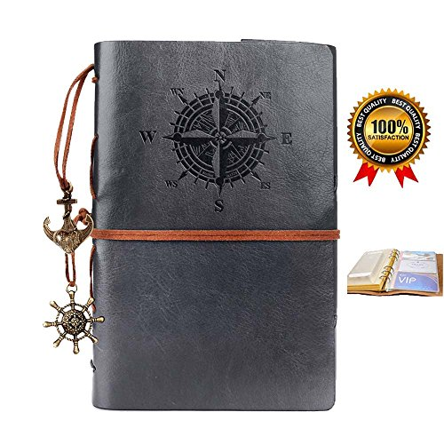 Leather Notebook,Refillable Vintage Travel Diary,Spiral Journals to Write in,Blank Pages,Classic Embossed,Retro Pendants,Bonus Plastic Zipper Pocket and Card Holders,for Men and Women,7 Inches,Gray