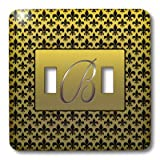 3dRose LLC lsp_36080_2 Elegant Letter B Embossed in Gold Frame Over A Black Fleur-De-Lis Pattern On A Background Double Toggle Switch