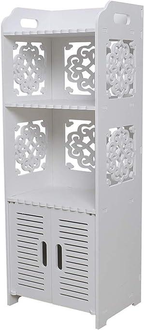 Hollylife Mueble de Baño, Armario Auxiliar de Almacenaje Impermeable para Cocina Dormitorio Baño, Anti-Moho y Humedad, 2 Estantes y 1 Puerta. 80x30x22cm, Blanco: Amazon.es: Hogar