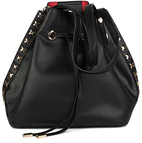 styleBREAKER set de bolsos de hombro con decoraciones de remaches de metal laterales, bolso de bandolera, bolso para compras, bolso, de señora 02012164, color:Gris claro Negro