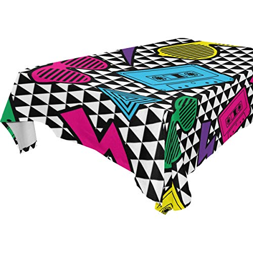(BEIDIDA Decor Tablecloth New Rave Pattern Multicolor Rectangular Table Cover for Dining Room Kitchen Outdoor Picnic)