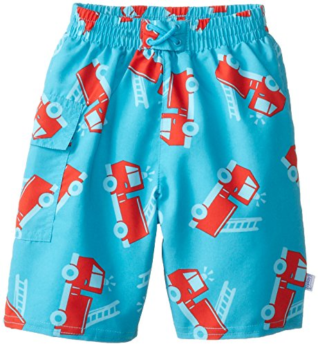 i play. Baby Boys' Pocket Trunks with Swim Diaper, Aqua Fire Truck, 18 Months