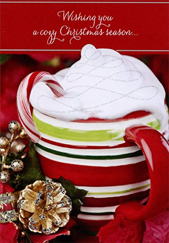 - Striped Mug with Whipped Cream - Designer Greetings Box of 18 Christmas Cards