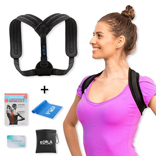 Posture Corrector Brace For Women Men and Kids - Wearable Under Clothes & Adjustable Clavicle Support Upper Back Neck Pain Relief - Shoulder Hunch Back Postural Correction - Plus Band & Carry Bag