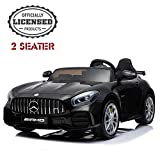 2 Seater Kids Ride On Car, Mercedes Benz AMG GTR Electric Ride On Car, Official Licensed Kid Car with 2.4G Remote Control, LED Light, MP3 Player, 12V 2 Motors (Black)