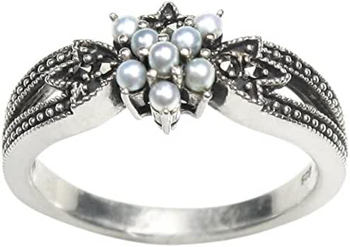 Star Gaze Cultured Seed Pearl Sterling Silver Ring - Dahlia Vintage Collection