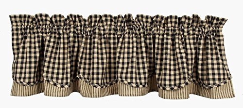 Home Collection by Raghu Heritage House Check Fairfield Valance, 72 by 15.5-Inch, Black/Nutmeg